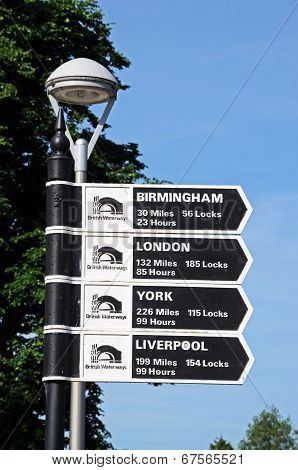 Canal mileage sign, Stratford-upon-Avon.