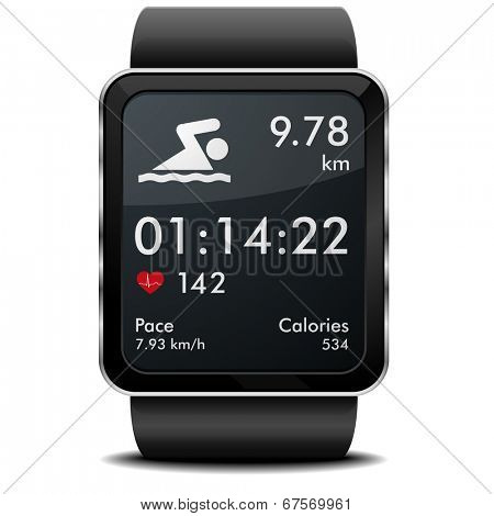 detailed illustration of a smartwarch with swimming fitness app with heart rate monitor, distance and timer, eps10 vector