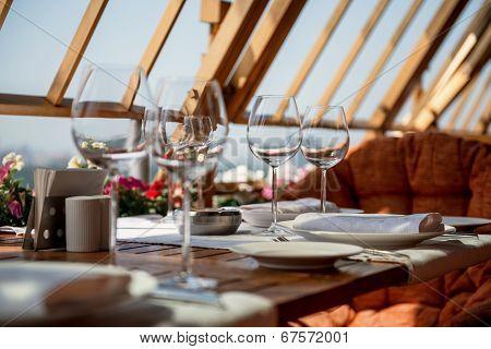 Served Table On The Veranda