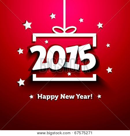 White Paper Gift Box 2015 New Year Greeting Card