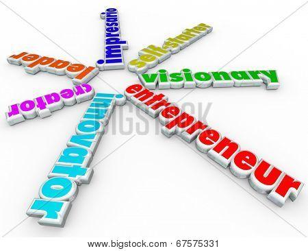 Entrepreneur 3d words innovator, creator, leader, impresario, self-starter visionary