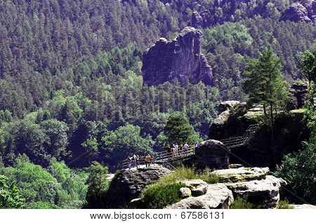 View Of The Rock Formations In Germany Bastei