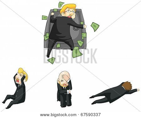 Businessman Funny Reaction In Financial Crisis Situation Cartoon Icon