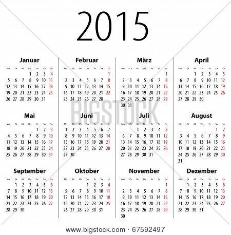 German Solid Calendar For 2015