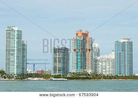 MIAMI,USA - MAY 27,2014 : Modern residencial buildings on Miami Beach