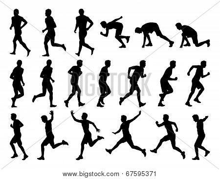 Big Set Of Men Running Silhouettes