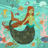 The vector pattern with cute young mermaid and ocean stuff for games presentations, ui tablets, smart phones. poster