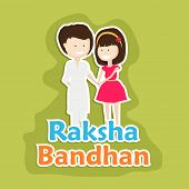 Beautiful greeting card design for the Raksha Bandhan festival with cute little girl tying rakhi on his brother wrist on green background.  poster