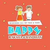 Beautiful greeting card design with stylish text Happy Raksha Bandhan with illustration of cute little girl tying rakhi on her brother hand on stars decorated orange background.  poster
