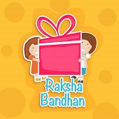 Happy Raksha Bandhan celebration background with cute little brother and sister holding a huge pink gift box on bright yellow background.  poster