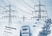"""Electricity pylons electricity meter money and a document with the german word """"Stromrechnung"""" for electricity bill, symbolizing the supply of electricity and its cost. poster"""