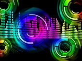 Digital Music Beats Background Meaning Electronic Music Or Sound Frequency poster