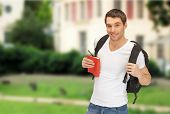 travel, vacation and education concept - travelling student with backpack and book poster