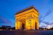 Arc of Triomphe Champs Elysees Paris city at sunset poster