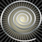 Illustration silver spirals on black yellow background. poster