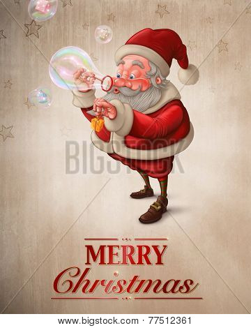 Santa Claus And The Soap Bubbles Greeting Card
