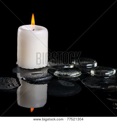 Beautiful Cryogenic Spa Concept Of Zen Stones With Drops, Ice And Candle On Reflection Water, Closeu