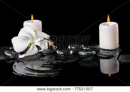 Beautiful Cryogenic Spa Concept Of Delicate White Hibiscus, Zen Stones With Drops, Ice And Candles O
