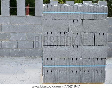 Pallet with concrete blocks