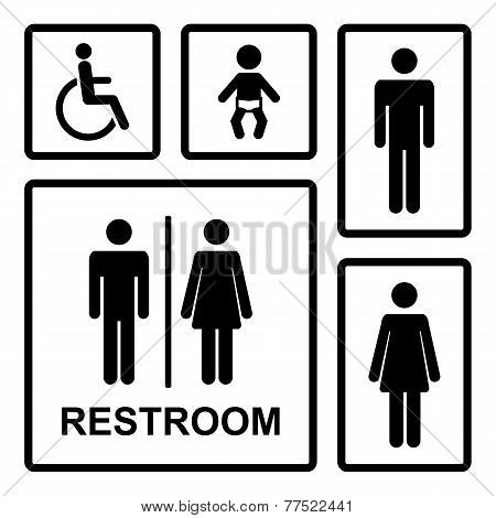 Vector black and white restroom icons set