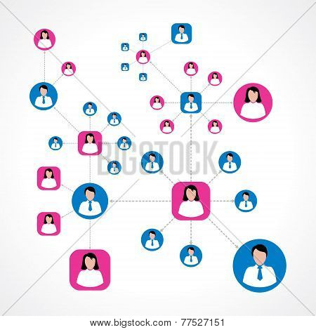 Social network concept with colorful male and female icons stock vector