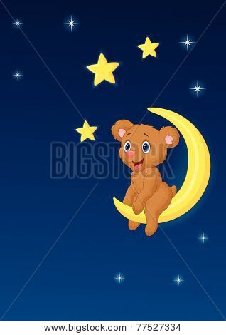 Baby bear sitting on the moon