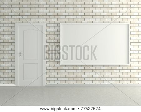 Modern Interior With The Picture, Door And Brick Wall