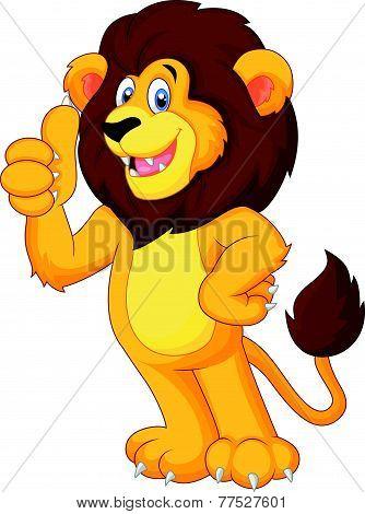 Cute cartoon lion giving thumb up