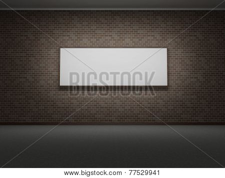 Picture Frame Or Photo On The Dark Bricks Wall Of The Room