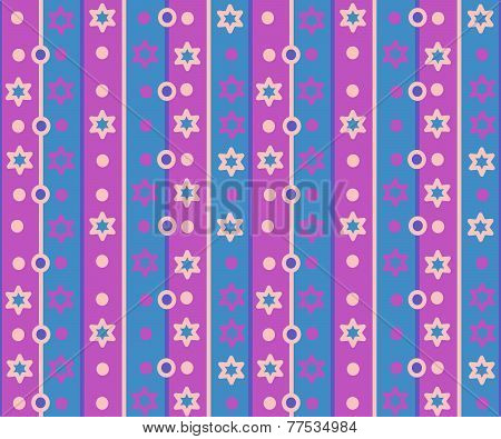 Simple retro striped pattern with stars and circles