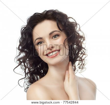 closeup portrait of attractive  caucasian smiling woman brunette isolated on white studio shot lips toothy smile face hair head and shoulders looking at camera tooth neck
