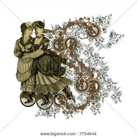 Luxuriously illustrated old capital letter S with flowers and two woman on roller scates. poster