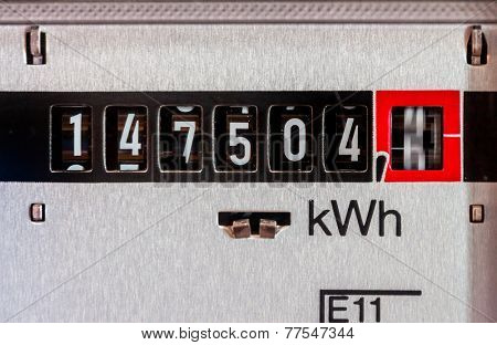 an electricity meter measures the electricity consumed. save symbolic photo for current price and current poster
