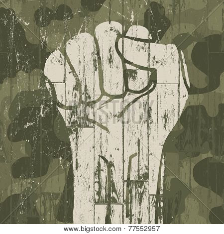 Fist symbol (revolution) on military camouflage background. Raster version