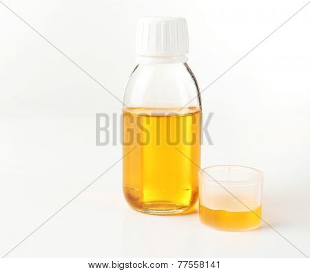 Cough syrup isolated on white poster
