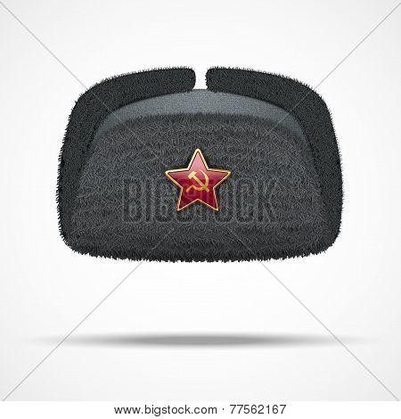 Russian black winter fur hat ushanka with red star.