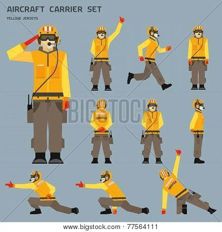 Aircraft carrier shooter signals. Main gestures and poses poster