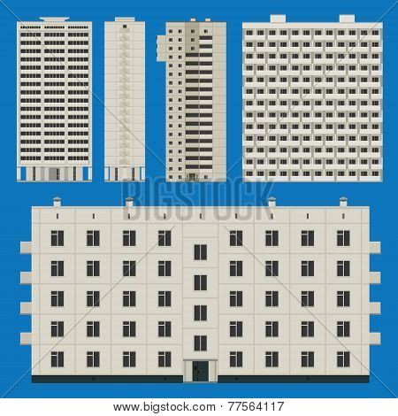 Buildings Set With Block Houses