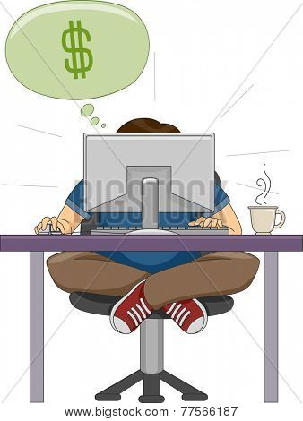 Illustration of a Man Hunched in Front of His Computer While Working on His Online Business