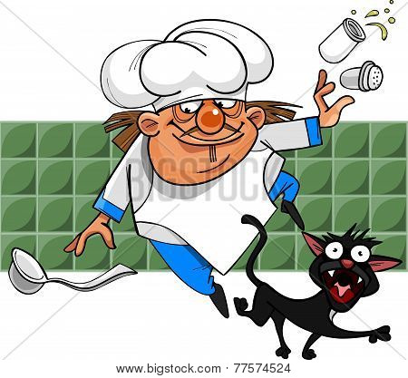 Unsuccessful Cartoon Cook Stumbles On A Black Cat And Loses Salt.eps
