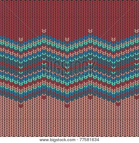 Vector Knitted Background With Zigzag Pattern