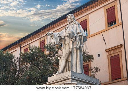 Statue Of The Anatomist G. B. Morgagni In Forli, Italy