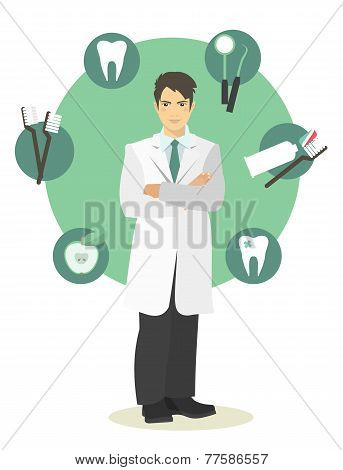 doctor dentist in full growth on a background of signs symbols dentistry poster