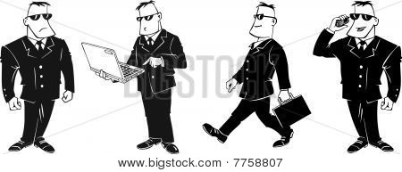 black and white vector businessman