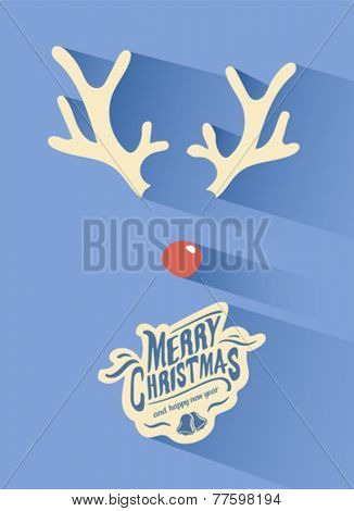 Digitally generated Merry christmas vector with rudolph nose