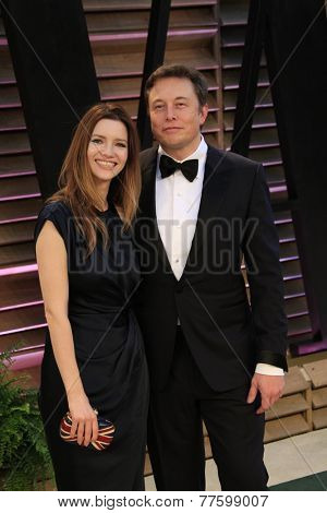 LOS ANGELES - MAR 2:  Talulah Riley, Elon Musk at the 2014 Vanity Fair Oscar Party at the Sunset Boulevard on March 2, 2014 in West Hollywood, CA