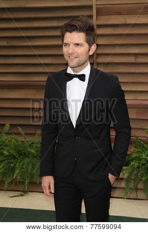 LOS ANGELES - MAR 2:  Adam Scott at the 2014 Vanity Fair Oscar Party at the Sunset Boulevard on March 2, 2014 in West Hollywood, CA