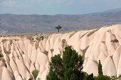 Volcanic rock landscape Goreme Cappadocia Uchisar Turkey poster