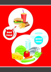 Healthy And Unhealthy Food With Concept Good And Bad