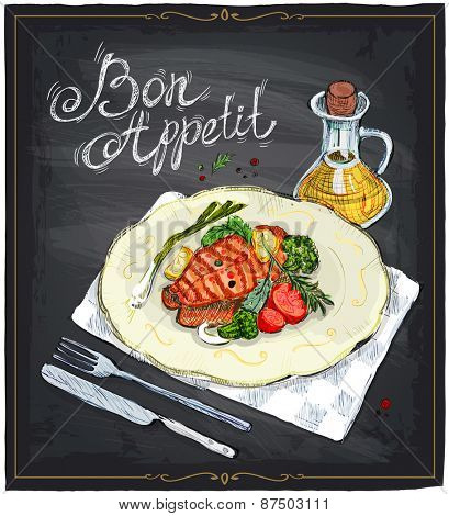 Grilled salmon steak on a plate with lime, cherry tomatoes and broccoli served with sauce, hand drawn illustration on a chalkboard. Bon appetit.